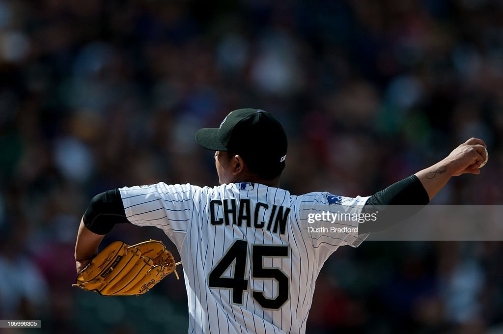 <a gi-track='captionPersonalityLinkClicked' href=/galleries/search?phrase=Jhoulys+Chacin&family=editorial&specificpeople=5734320 ng-click='$event.stopPropagation()'>Jhoulys Chacin</a> #45 of the Colorado Rockies pitches in the fourth inning against the San Diego Padres at Coors Field on April 7, 2013 in Denver, Colorado. The Rockies beat the Padres 9-1.