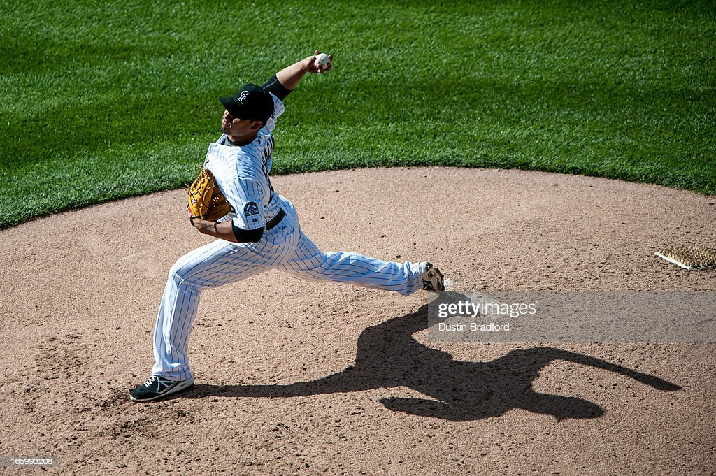 <a gi-track='captionPersonalityLinkClicked' href=/galleries/search?phrase=Jhoulys+Chacin&family=editorial&specificpeople=5734320 ng-click='$event.stopPropagation()'>Jhoulys Chacin</a> #45 of the Colorado Rockies pitches in the sixth inning against the San Diego Padres at Coors Field on April 7, 2013 in Denver, Colorado. The Rockies beat the Padres 9-1.