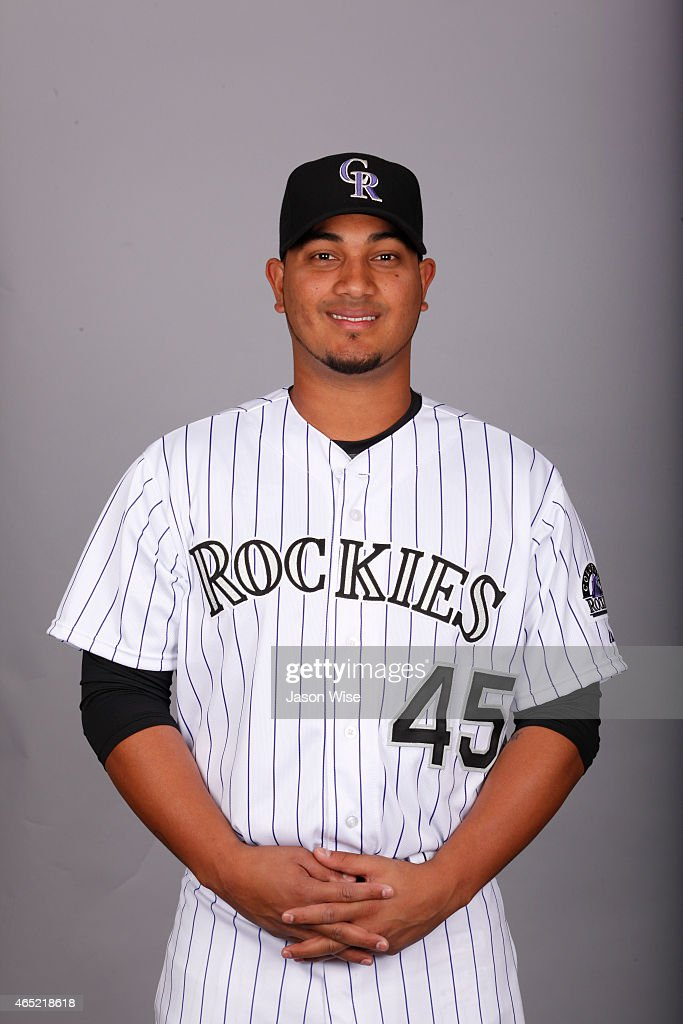 Jhoulys Chacin of the Colorado Rockies poses during Photo Day on Sunday March 1 2015 at Salt River Fields at Talking Stick in Scottsdale Arizona