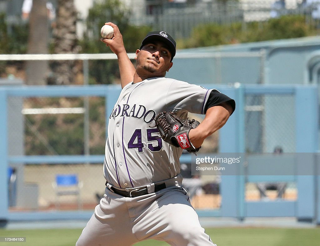 <a gi-track='captionPersonalityLinkClicked' href=/galleries/search?phrase=Jhoulys+Chacin&family=editorial&specificpeople=5734320 ng-click='$event.stopPropagation()'>Jhoulys Chacin</a> #45 of the Colorado Rockies throws a pitch against the Los Angeles Dodgers at Dodger Stadium on July 14, 2013 in Los Angeles, California.