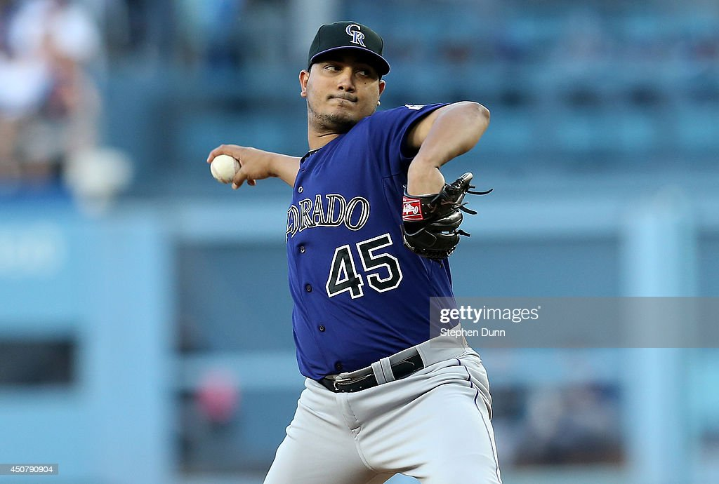 Jhoulys Chacin of the Colorado Rockies throws a pitch against the Los Angeles Dodgers at Dodger Stadium on June 17 2014 in Los Angeles California