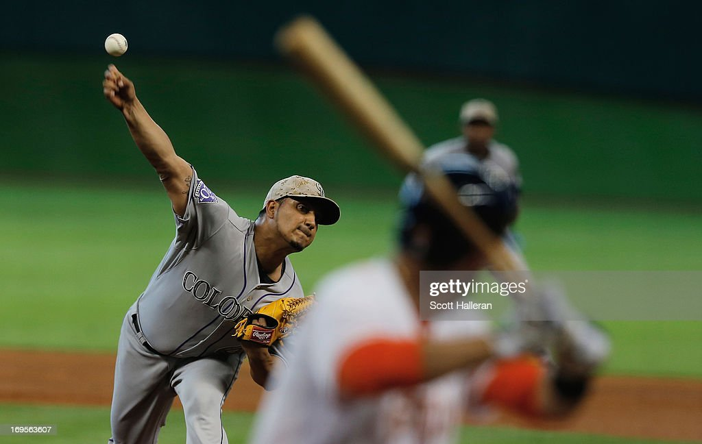 Jhoulys Chacin of the Colorado Rockies throws a pitch during the fourth inning to JD Martinez of the Houston Astros at Minute Maid Park on May 27...