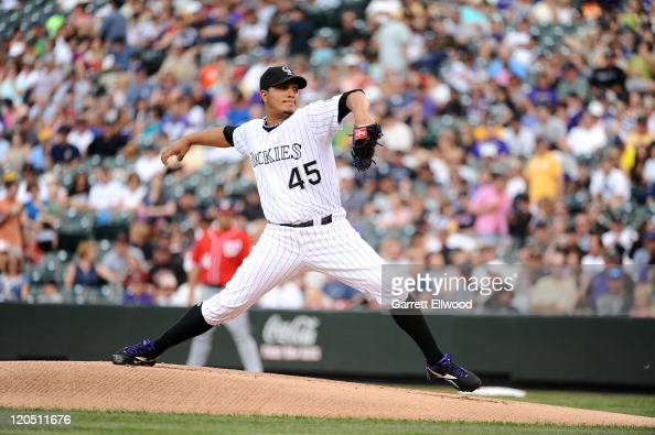 Jhoulys Chacin of the Colorado Rockies throws against the Washington Nationals during the game at Coors Field on August 6 2011 in Denver Colorado