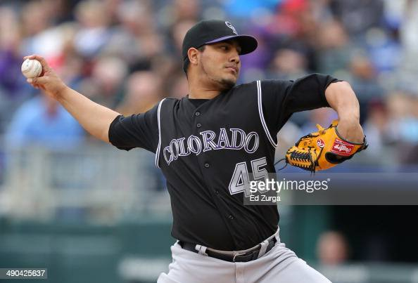 Jhoulys Chacin of the Colorado Rockies throws in the first inning against the Kansas City Royals at Kauffman Stadium on May 14 2014 in Kansas City...