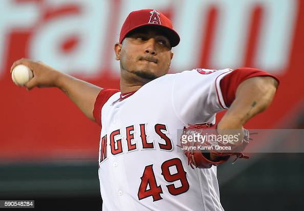Jhoulys Chacin of the Los Angeles Angels in the first inning of the game against the Seattle Mariners Angel Stadium of Anaheim on August 16 2016 in...