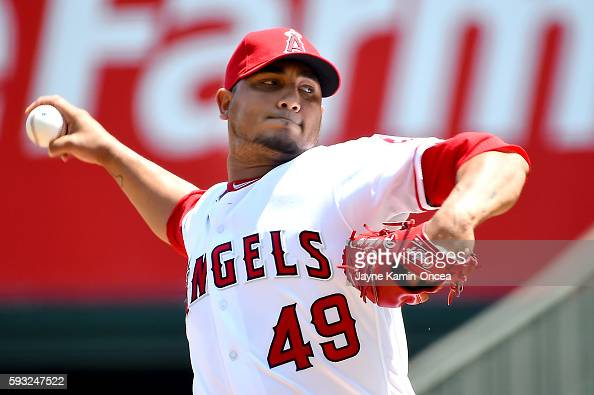 Jhoulys Chacin of the Los Angeles Angels pitches in the first inning of the game against the New York Yankees at Angel Stadium of Anaheim on August...