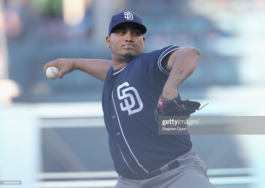 Jhoulys Chacin #46 of the San Diego Padres throws a pitch in the first inning against the Los Angeles Dodgers at Dodger Stadium on August 12, 2017 in Los Angeles, California.
