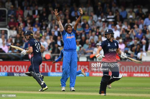 Jhulan Goswami of India celebrates after taking the wicket of Natalie Sciver of England during the ICC Women's World Cup 2017 Final between England...
