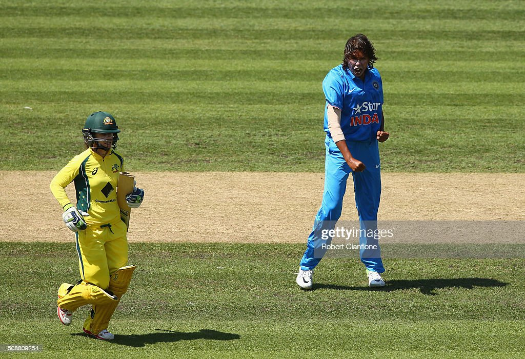 Jhulan Goswami of India celebrates after taking the wicket of Nicole Bolton of Australia during game three of the one day international series between Australia and India at Blundstone Arena on February 7, 2016 in Hobart, Australia.