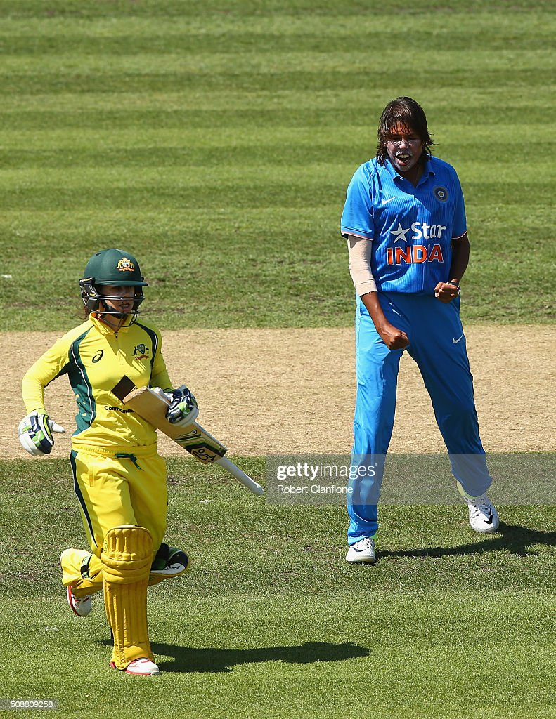 <a gi-track='captionPersonalityLinkClicked' href=/galleries/search?phrase=Jhulan+Goswami&family=editorial&specificpeople=877069 ng-click='$event.stopPropagation()'>Jhulan Goswami</a> of India celebrates after taking the wicket of <a gi-track='captionPersonalityLinkClicked' href=/galleries/search?phrase=Nicole+Bolton&family=editorial&specificpeople=4667826 ng-click='$event.stopPropagation()'>Nicole Bolton</a> of Australia during game three of the one day international series between Australia and India at Blundstone Arena on February 7, 2016 in Hobart, Australia.