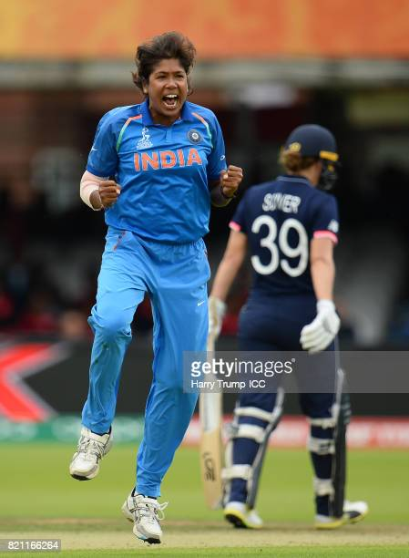 Jhulan Goswami of India celebrates the wicket of Fran Wilson of England during the ICC Women's World Cup 2017 Final between England and India at...