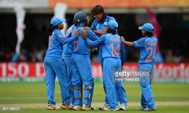 Jhulan Goswami of India celebrates the wicket of Sarah Taylor of England during the ICC Women's World Cup 2017 Final between England and India at...