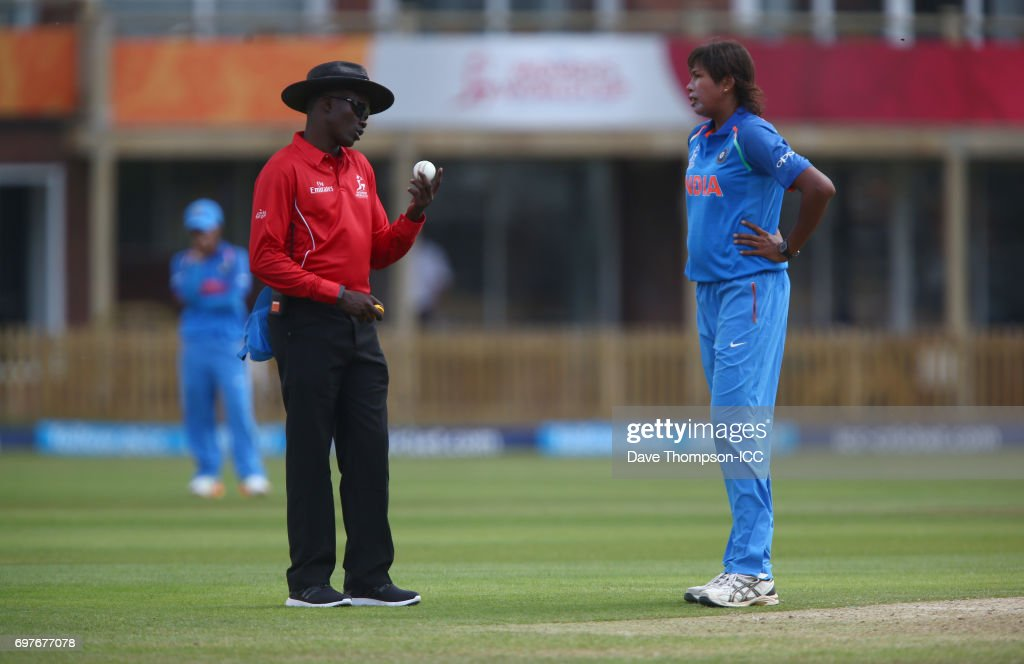 Jhulan Goswami of India complains to umpire Langton Rusere during the ICC Women's World Cup warm up match between India and New Zealand at The County Ground on June 19, 2017 in Derby, England.