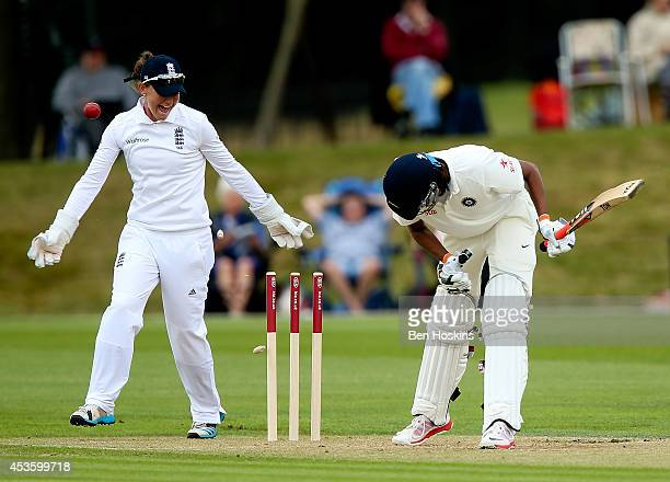 Jhulan Goswami of India is bowled by Jenny Gunn of England during day two of Women's test match between England and India at Wormsley Cricket Ground...