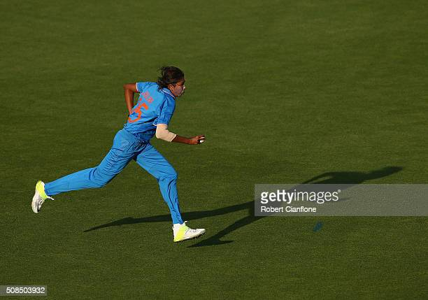 Jhulan Goswami of India runs in to bowl during game two of the women's one day international series between Australia and India at Blundstone Arena...