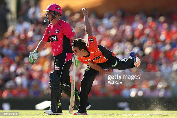Jhye Richardson of the Scorchers bowls during the Big Bash League match between the Perth Scorchers and the Sydney Sixers at WACA on January 28 2017...