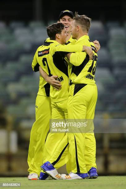 Jhye Richardson of WA celebrates after taking a catch to dismiss Moises Henriques of NSW off the bowling of D'Arcy Short during the JLT One Day Cup...
