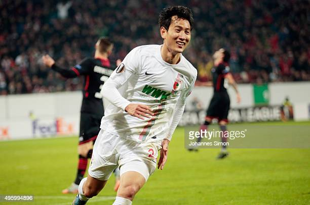 Ji DongWon of Augsburg celebrates after scoring his team's 3rd goal during the UEFA Europa League group L football match FC Ausburg vs AZ Alkmaar at...