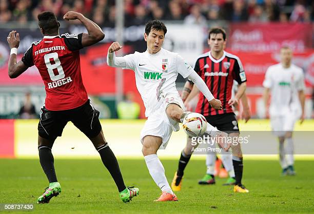 Ji DongWon of Augsburg in action during the Bundesliga match between FC Ingolstadt and FC Augsburg at Audi Sportpark on February 6 2016 in Ingolstadt...