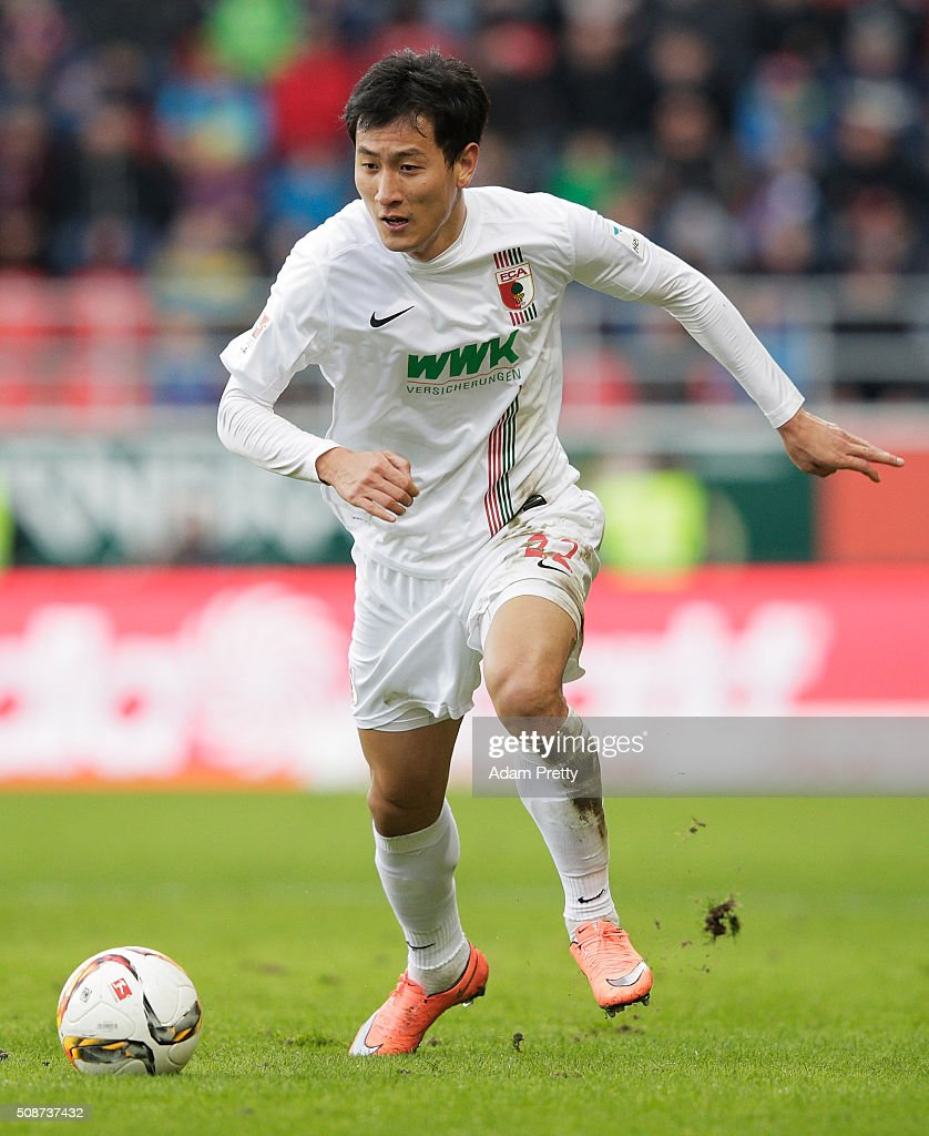 Ji Dong-Won of Augsburg in action during the Bundesliga match between FC Ingolstadt and FC Augsburg at Audi Sportpark on February 6, 2016 in Ingolstadt, Germany.