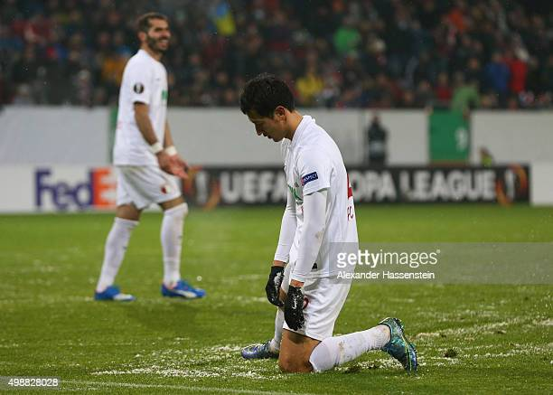 Ji DongWon of Augsburg reacts during the UEFA Europa League Group L match between FC Augsburg and Athletic Club at WWKArena on November 26 2015 in...