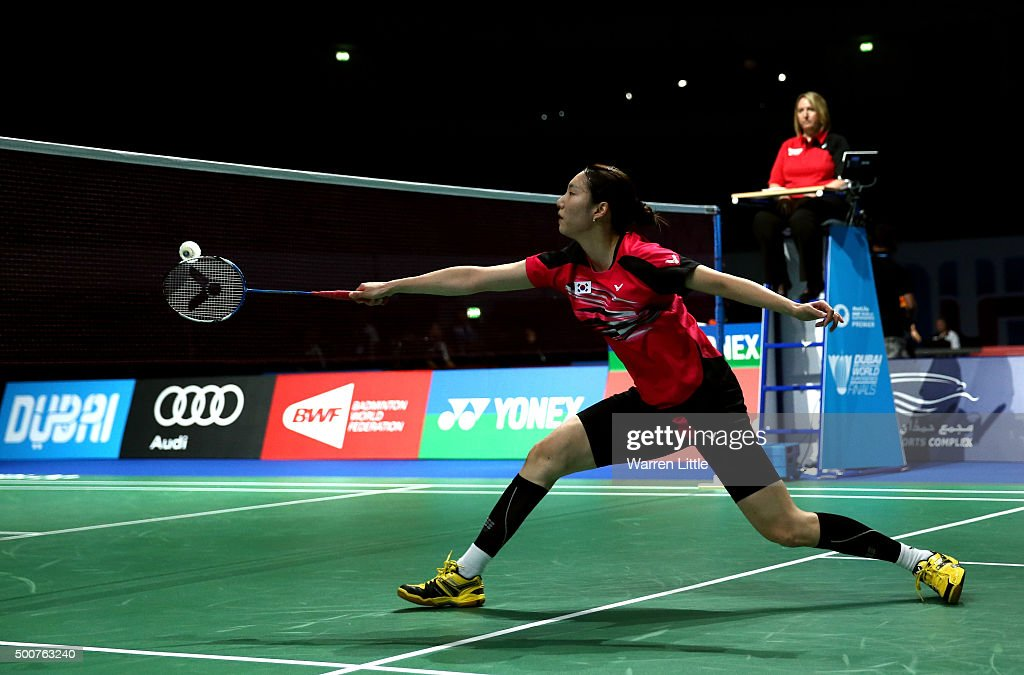 Ji Hyun Sung of Korea in action against Shixian Wang of China in the Women's Singles match during day two of the BWF Dubai World Superseries 2015 Finals at the Hamdan Sports Complex on December 10, 2015 in Dubai, United Arab Emirates.