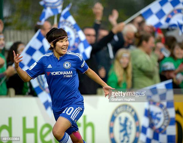 Ji So Yun celebrates after scoring Chelsea's first goal during the FA WSL match between Chelsea Ladies FC and Sunderland AFC Ladies on October 4 2015...