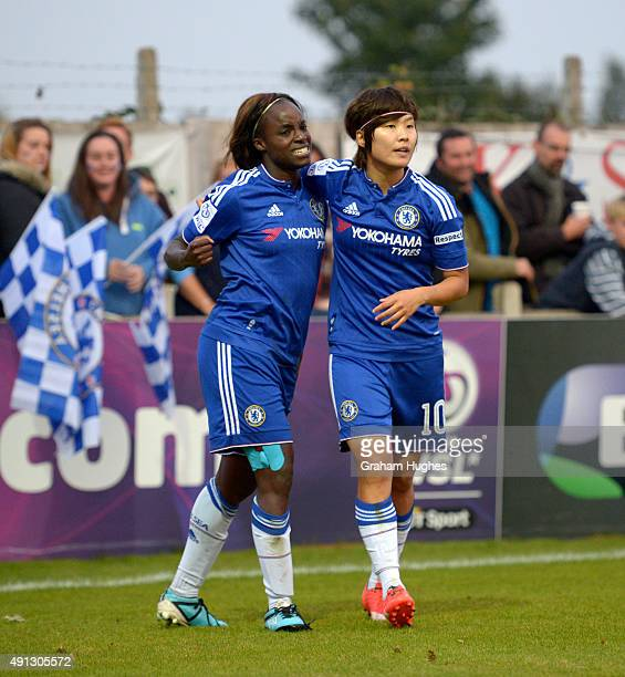Ji So Yun celebrates with Eniola Aluko after scoring Chelsea's first goal during the FA WSL match between Chelsea Ladies FC and Sunderland AFC Ladies...