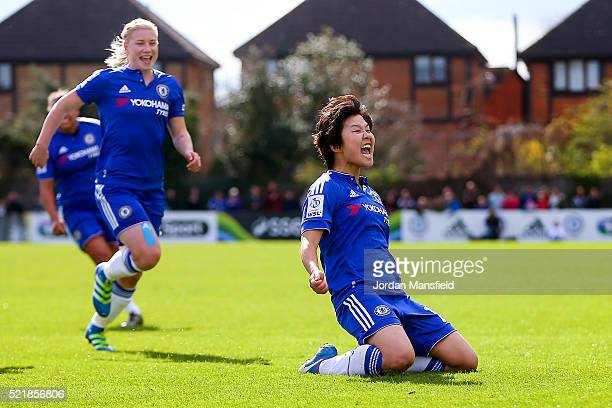 Ji So Yun of Chelsea celebrates scoring her side's first goal during the SSE Women's FA Cup Semifinal match between Chelsea Ladies FC v Manchester...