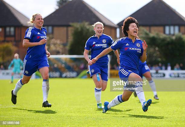 Ji So Yun of Chelsea celebrates scoring her sides first goal during the SSE Women's FA Cup Semifinal match between Chelsea Ladies FC v Manchester...