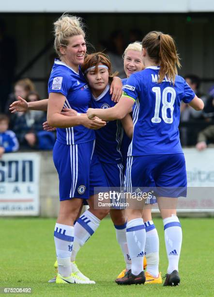 Ji So Yun of Chelsea celebrates with her team mates after she scores to put her side 20 up during the FA WSL 1 match between Chelsea Ladies and...