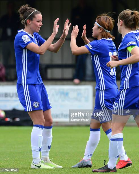 Ji So Yun of Chelsea celebrates with team mate Deanna Cooper after she scores from a free kick to put her side 10 up during the FA WSL 1 match...