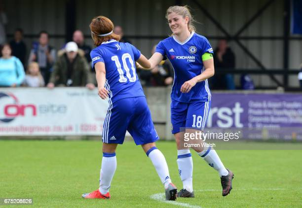 Ji So Yun of Chelsea celebrates with team mate Maren Mjelde after she scores from a free kick to put her side 10 up during the FA WSL 1 match between...