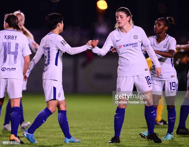 Ji So Yun of Chelsea celebrates with team mate Maren Mjelde after she scores to make it 30 during a Continental Cup Match between Chelsea Ladies and...