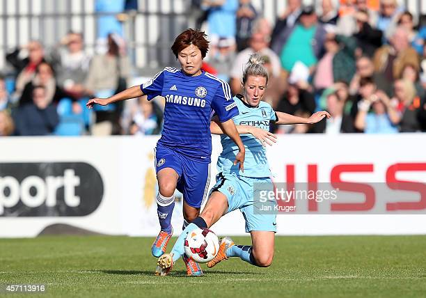 Ji So Yun of Chelsea Ladies battles with Emma Lipman of Manchester City Women during the WSL match between Manchester City Women and Chelsea Ladies...
