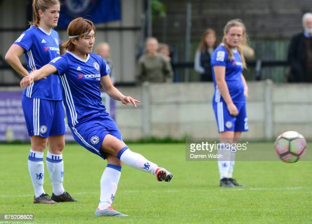 Ji So Yun of Chelsea scores from a free kick to put her side 10 up during the FA WSL 1 match between Chelsea Ladies and Yeovil Town Ladies at...