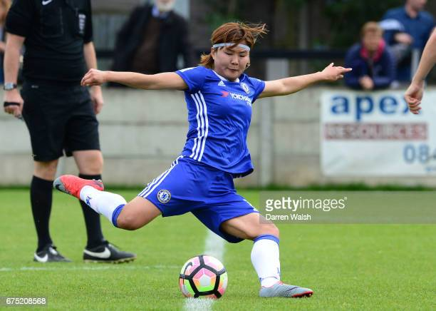 Ji So Yun of Chelsea scores to put her side 20 up during the FA WSL 1 match between Chelsea Ladies and Yeovil Town Ladies at Wheatsheaf Park on April...