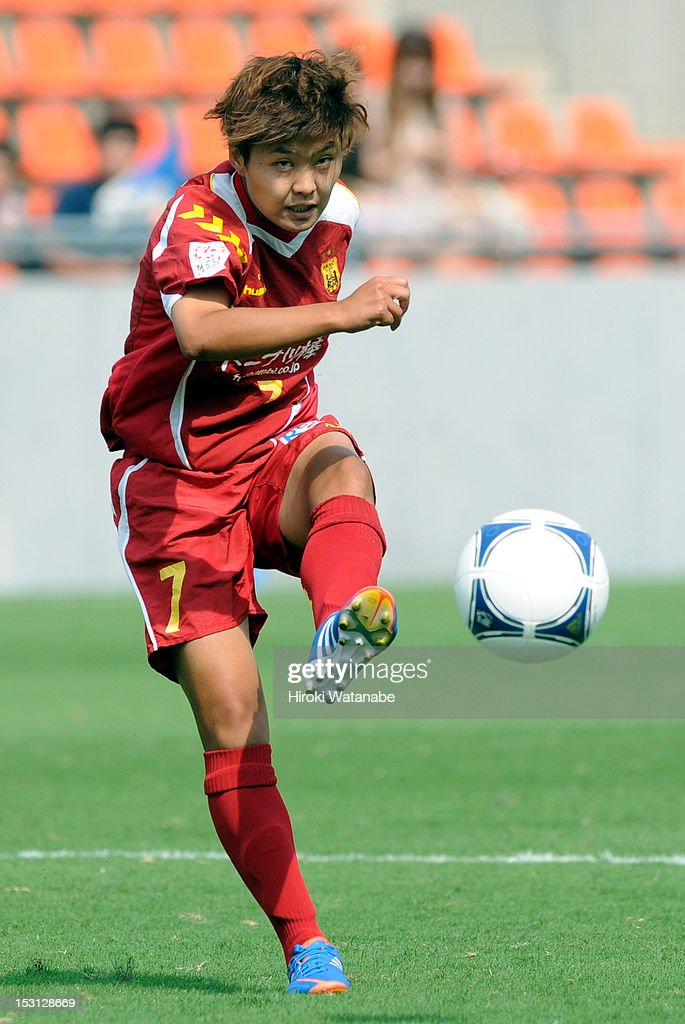 Ji So Yun of INAC Kobe Leonessa in action during the Nadeshiko League match between AS Elfen Sayama and INAC Kobe Leonessa at NACK 5 Stadium Omiya on September 30, 2012 in Saitama, Japan.