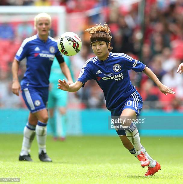 Ji SoYun of Chelsea moves away with the ball during the Women's FA Cup Final match between Chelsea Ladies FC and Notts County Ladies at Wembley...