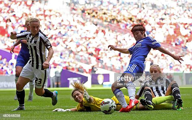Ji SoYun of Chelsea scores the opening goal of the game during the Women's FA Cup Final between Chelsea Ladies FC and Notts County Ladies at Wembley...