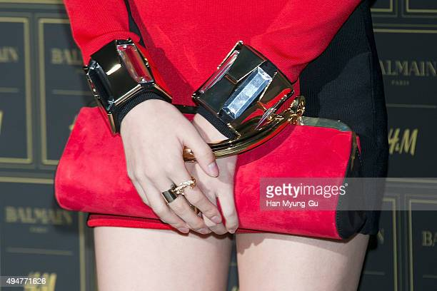 Jia bag detail of girl group Miss A attends the BALMAIN x HM Preview Party at Club The A on October 28 2015 in Seoul South Korea
