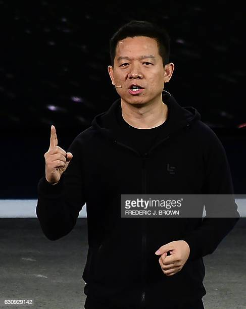 YT Jia founder n CEO of LeEco speaks at Faraday Future's introduction of the FF91 electric vehicle at the company's press conference at the 2017...