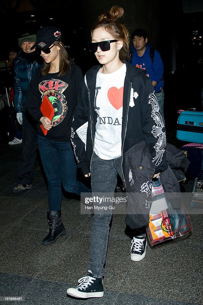 Jia of girl group Miss A is seen at Incheon International Airport on February 17, 2013 in Incheon, South Korea.
