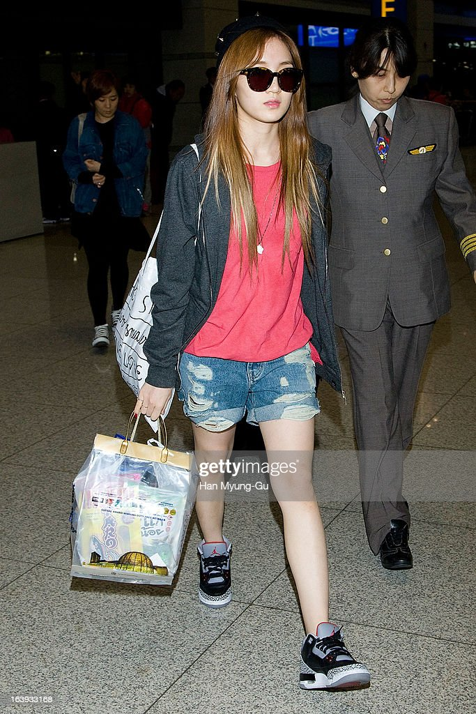 Jia of girl group Miss A is seen upon arrival at Incheon International Airport on March 17, 2013 in Incheon, South Korea.