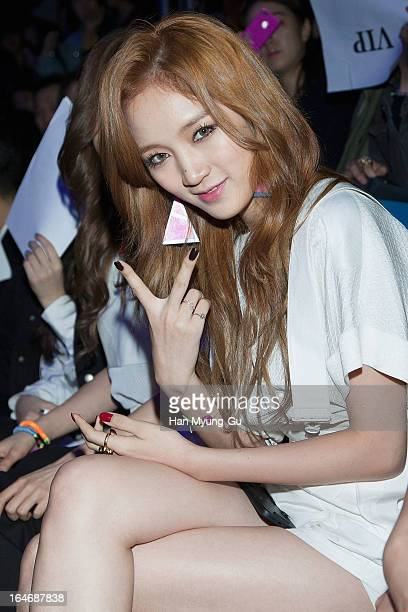 Jia of South Korean girl group Miss A attends during at the 'KAAL E SUKTAE' show on day two of the Seoul Fashion Week F/W 2013 at IFC Seoul on March...