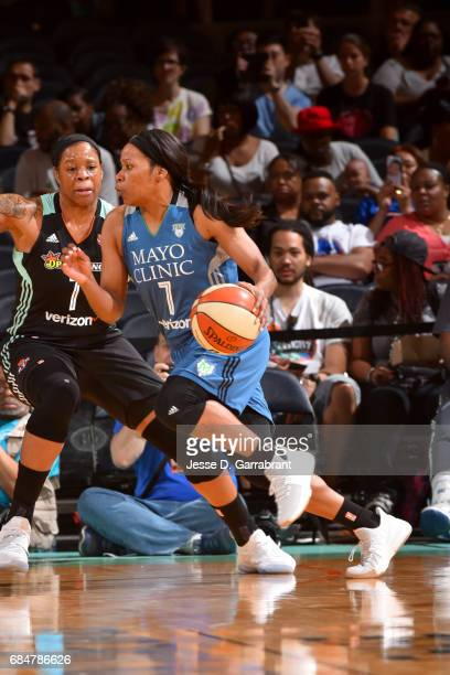 Jia Perkins of the Minnesota Lynx drives to the basket against the New York Liberty on May 18 2017 at Madison Square Garden in New York City New York...