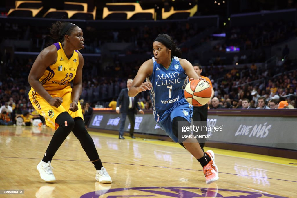 Jia Perkins #7 of the Minnesota Lynx drives to the basket against the Los Angeles Sparks in Game Three of the 2017 WNBA Finals on September 29, 2017 at the STAPLES Center in Los Angeles, California.