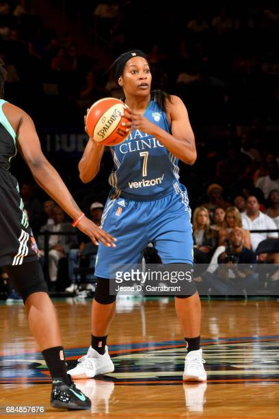 Jia Perkins of the Minnesota Lynx handles the ball against the New York Liberty on May 18 2017 at Madison Square Garden in New York City New York...