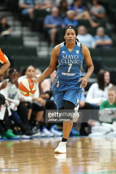 Jia Perkins of the Minnesota Lynx handles the ball during a game against the Chicago Sky on May 14 2017 at Xcel Energy Center in St Paul Minnesota...