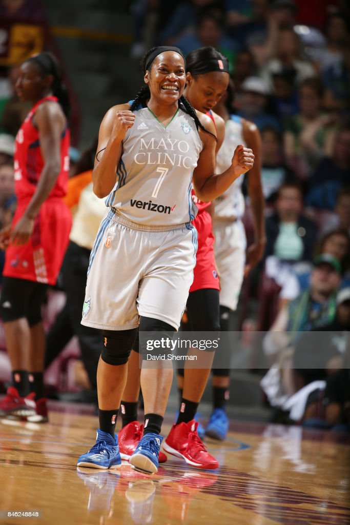 Jia Perkins #7 of the Minnesota Lynx reacts to a play against the Washington Mystics in Game One of the Semifinals during the 2017 WNBA Playoffs on September 12, 2017 at Williams Arena, University of Minnesota, in Minneapolis, Minnesota.